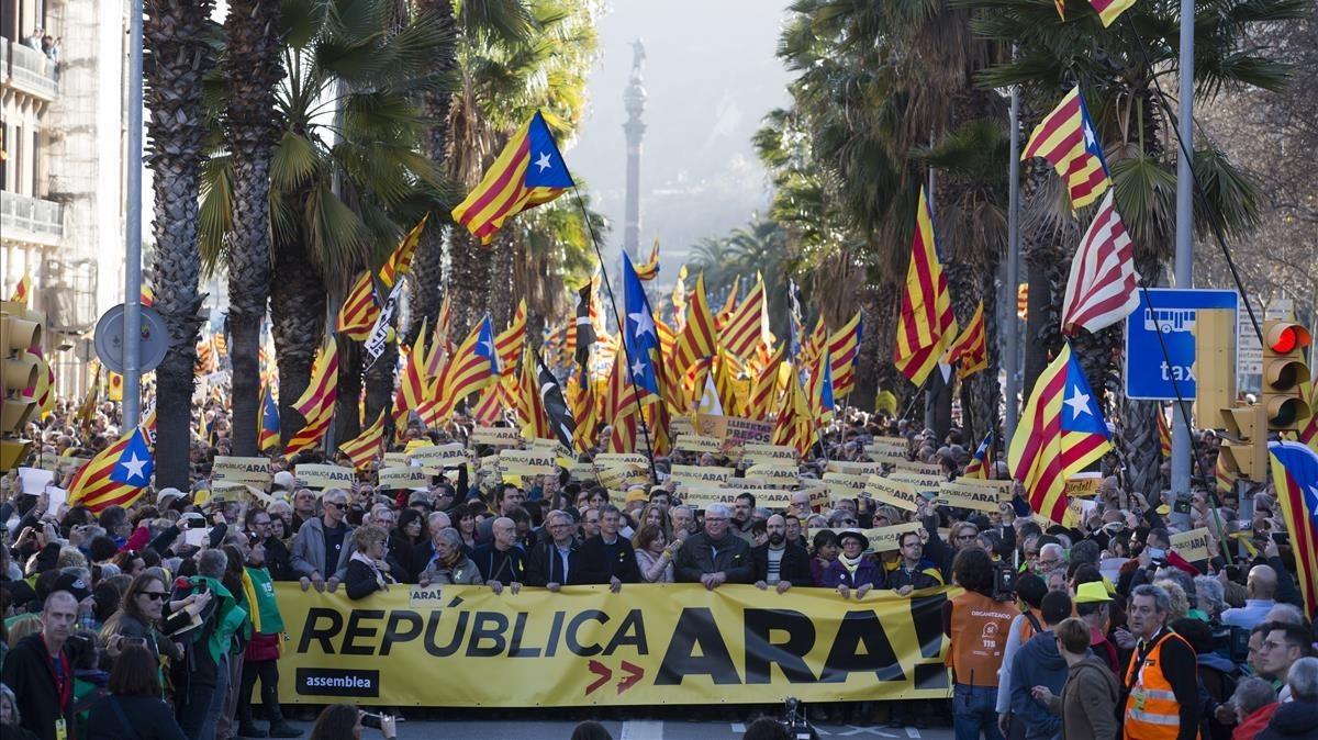 Manifestación de la ANC en Barcelona, este domingo.