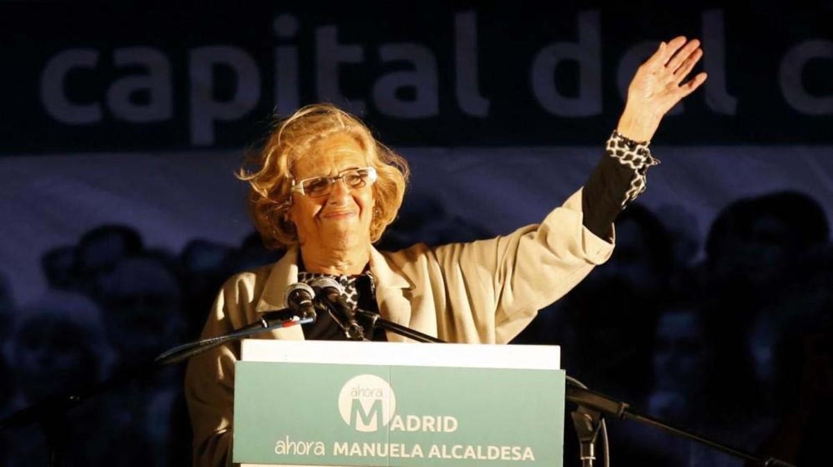 Manuela Carmena, durante la noche electoral de las elecciones municipales de 2015.