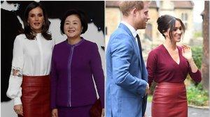 La duquesa de Sussex aparece con la misma falda de cuero que Letizia lució en Corea.