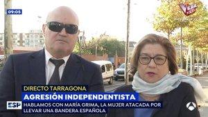 """'Espejo Público' entrevista a la mujer agredida por un independentista: """"Tengo derecho a sacar la bandera española"""""""