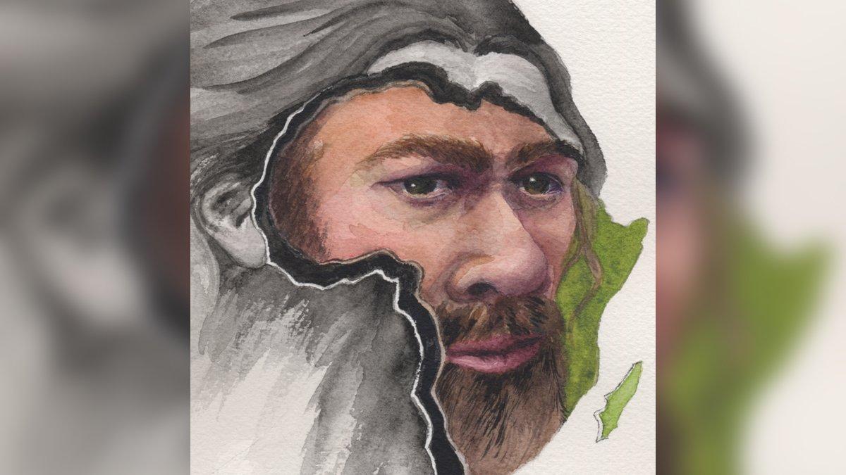 Retrato artístico de un rostro neandertal sobre la silueta de África