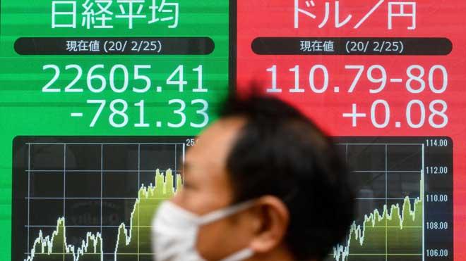 El Nikkei se desploma más de un 3% por temor al impacto económico del coronavirus.