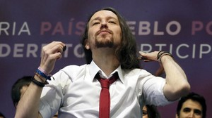 El reelegido secretario general de Podemos, Pablo Iglesias, en la clausura de la asamblea de Vistalegre II.