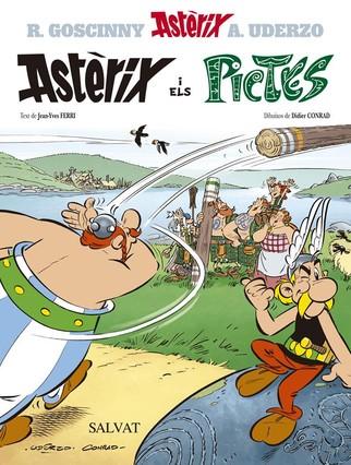 Portada del ejemplar en catalán de Astérix y los pictos, desvelado esta mañana en París.