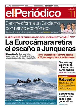 La portada de EL PERIÓDICO del 11 de enero del 2020