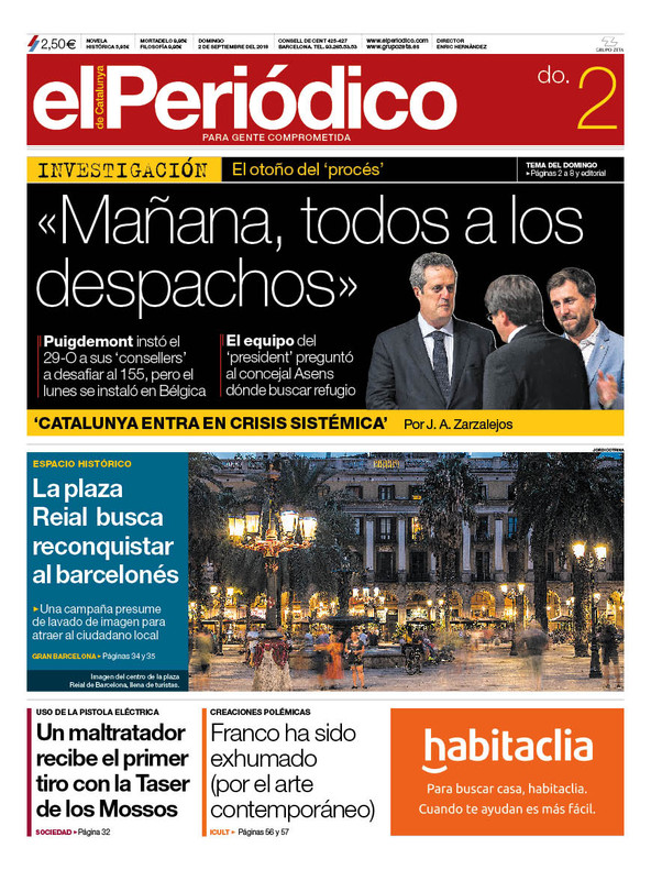 La portada de EL PERIÓDICO del 2 de septiembre del 2018.