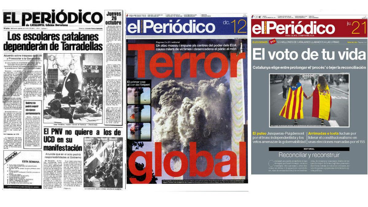 Portadasdel 26 de octubre del 1978, 12 de septiembre del 2001 y 21 de diciembre del 2017