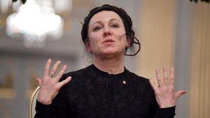 La premio Nobel Olga Tokarczuk, este sábado en Estocolmo.
