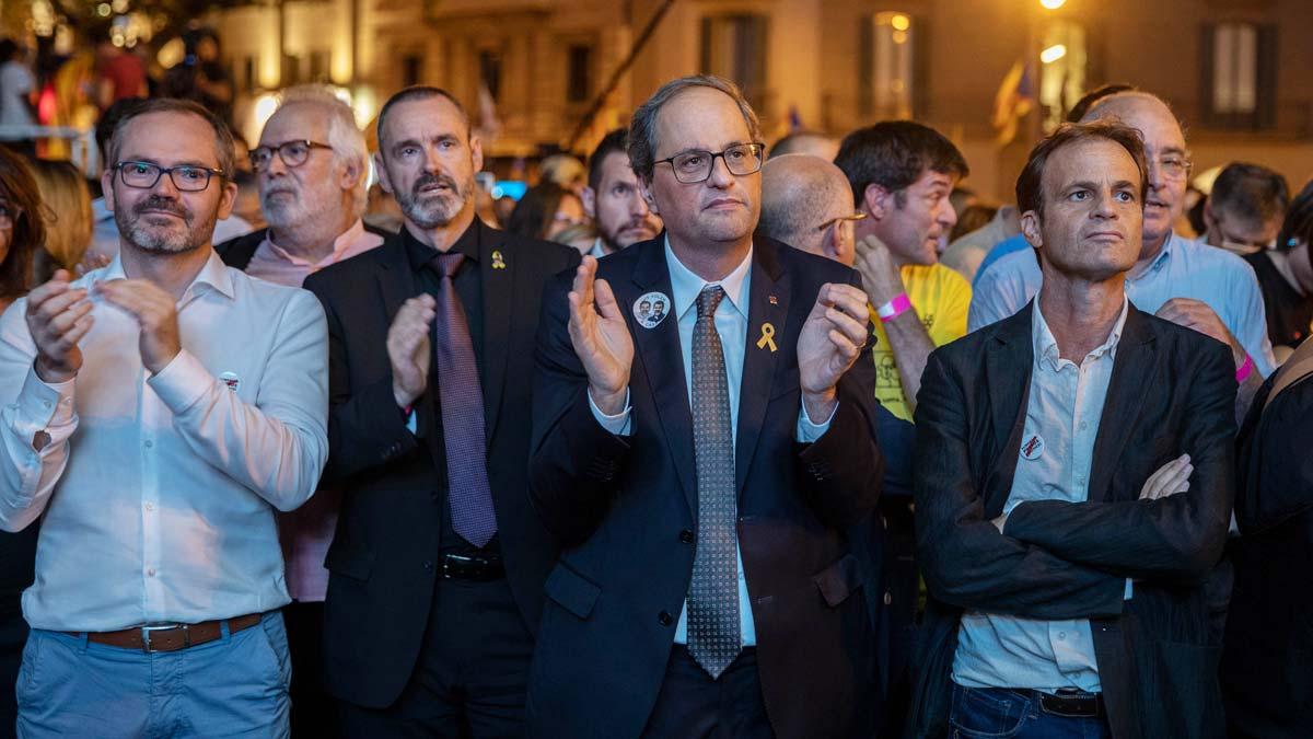 El president Quim Torra, en la manifestación por el aniversario del 20-S en Barcelona.