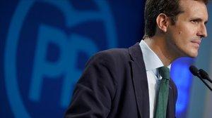 El presidente del PP, Pablo Casado, en una reciente rueda de prensa en la sede central de su partido