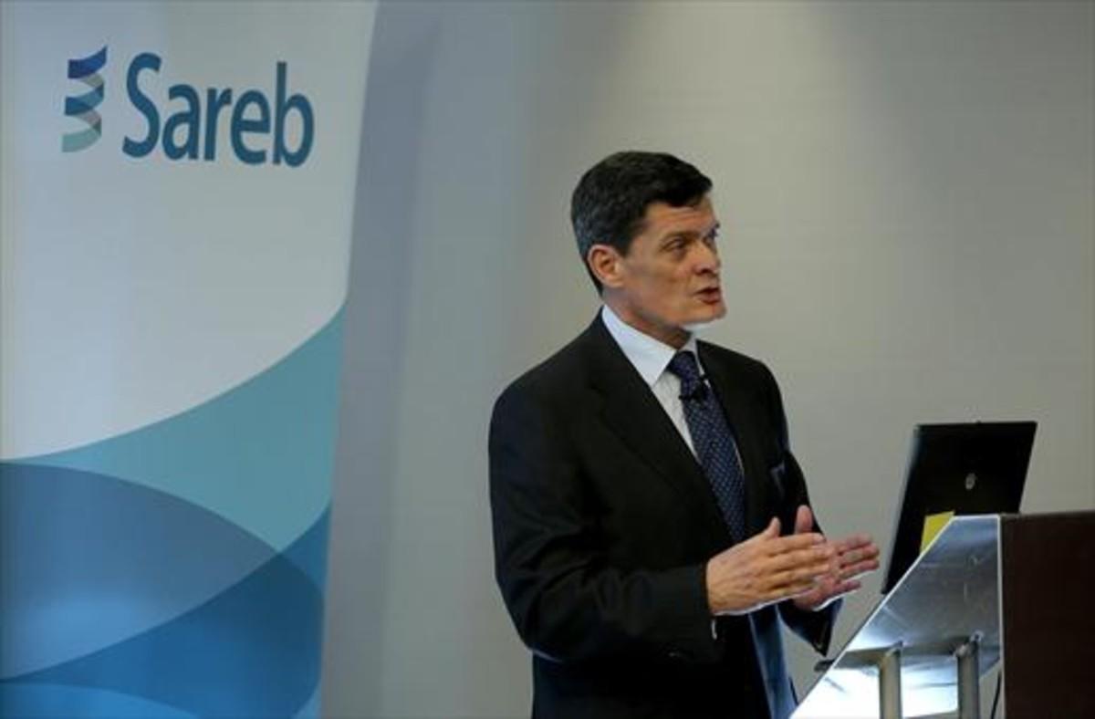 El presidente de la Sareb, Jaime Echegoyen, durante una rueda de prensa ofrecida en Madrid.