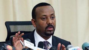 El Primer Ministro Etíope, Abiy Ahmed, en una conferencia en Adis Adeba en agosto.