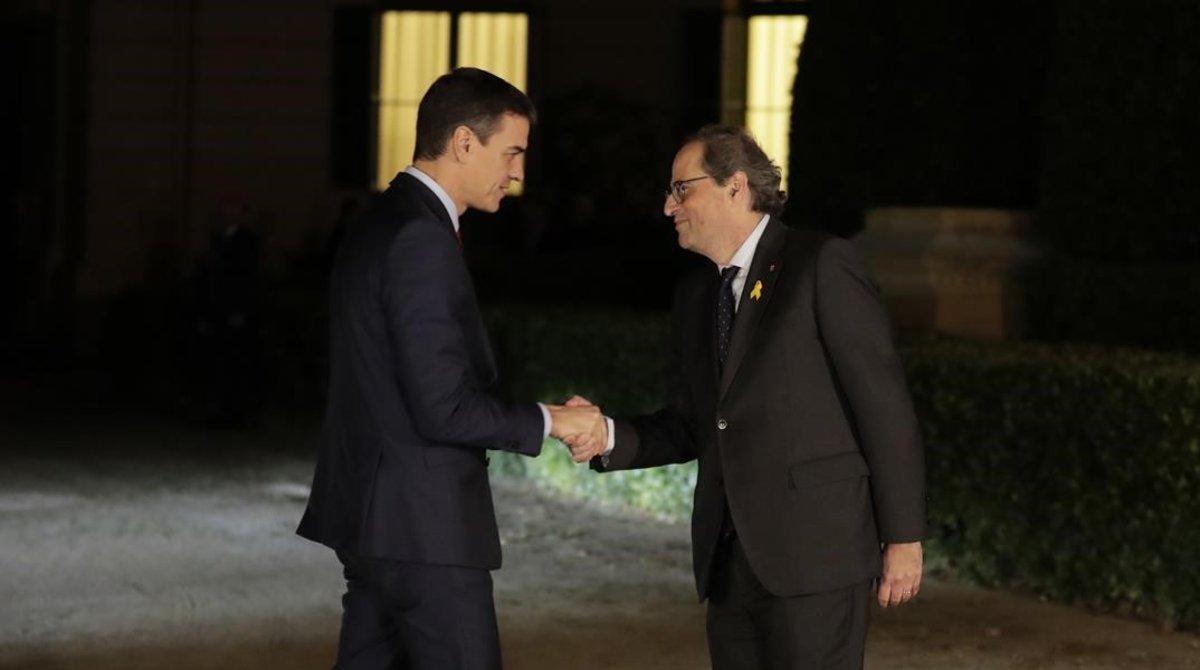 Quim Torra recibe a Pedro Sánchez en el Palau de Pedralbes, esta tarde.