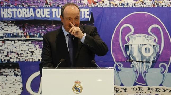 Rafael Benítez, durante su presentación como entrenador del Madrid.