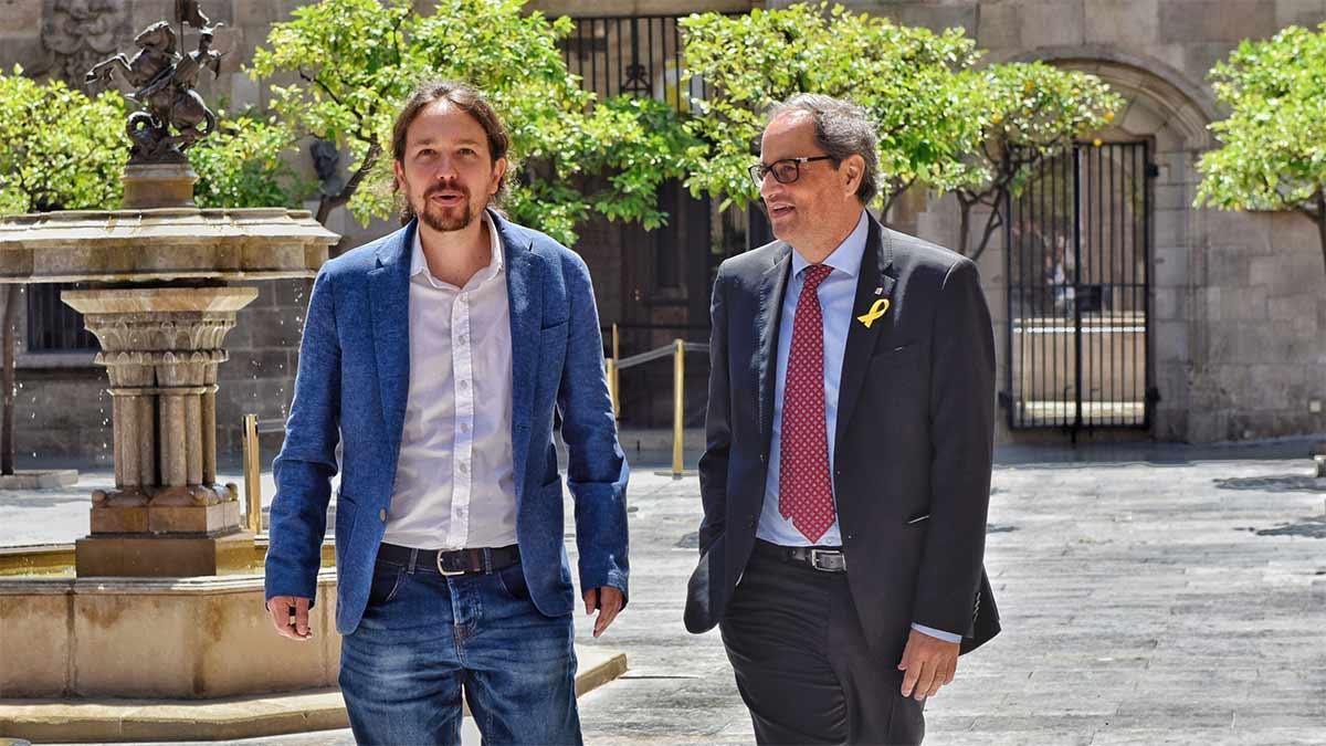 Reunión entre Quim Torra y Pablo Iglesias en la Generalitat.