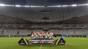 El River Plate posa en el Monumental, vacío, el pasado 11 de marzo, antes del partido ante el Deportivo Binacional de la Copa Libertadores.