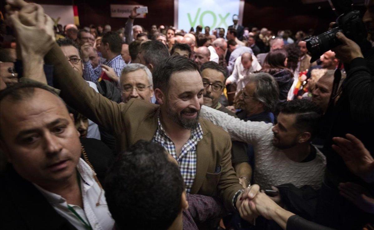 Santiago Abascal en un acto en Murcia, en noviembre del 2018.