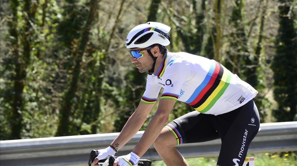 Alejandro Valverde, en acción, durante la Volta.
