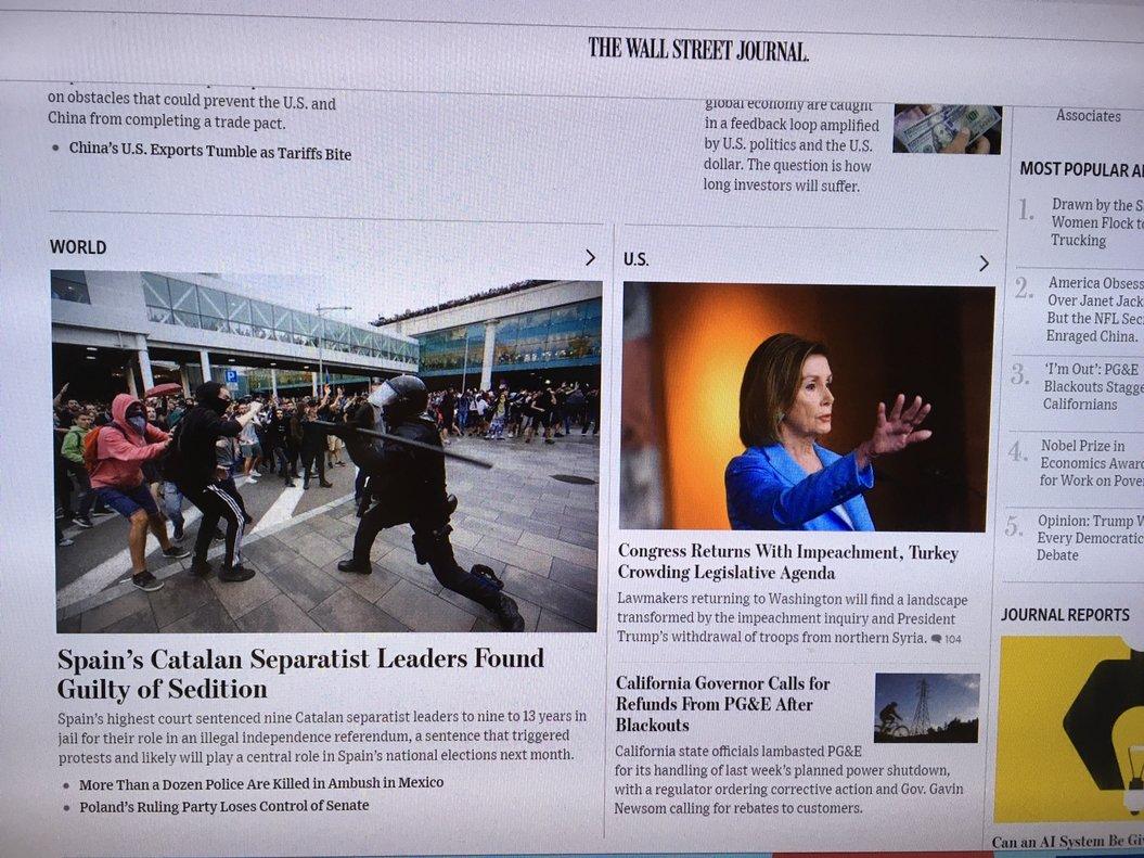 'The Wall Street Jouenal' informa de las protestas en Barcelona tras la sentencia del procés.