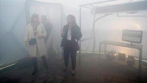 Teresa Ribera en la exposición sobre contaminaciónde la Cumbre del Clima de Madrid.