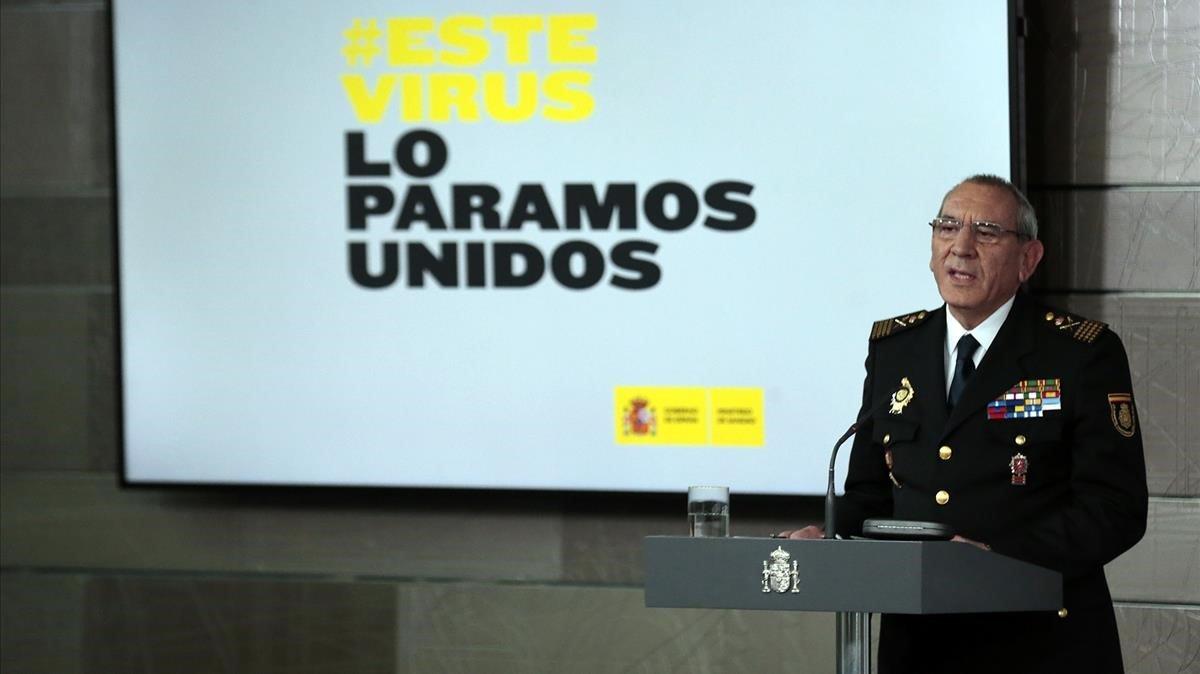 El director operativo de la Policía Nacional, José Ángel González, en una rueda de prensa en el palacio de La Moncloa.