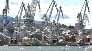 Vista panorámica de los astilleros de Sestao.