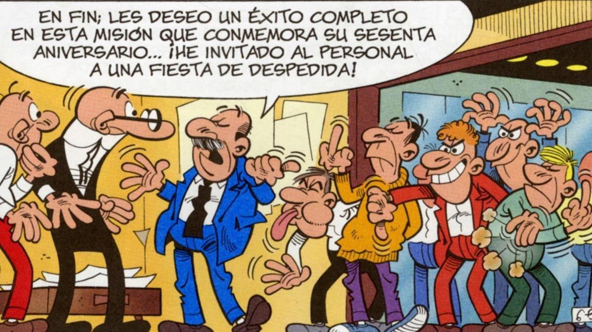 Viñeta del álbum Mortadelo y Filemón 'El 60 aniversario'.