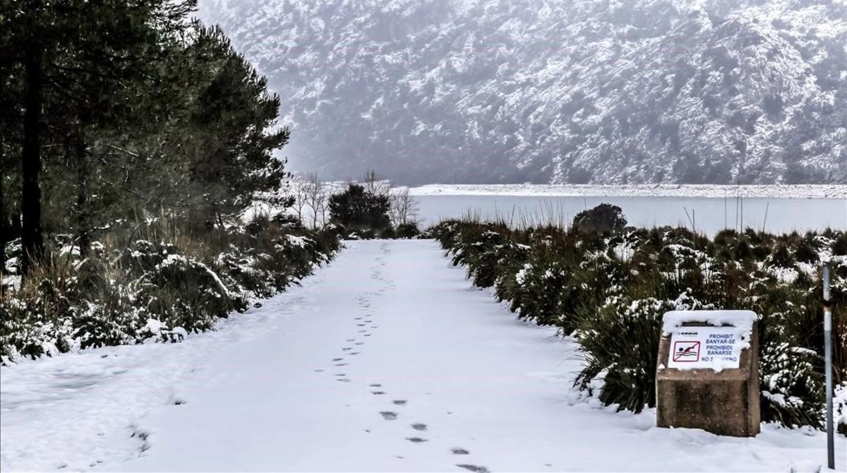 La carretera M-10 de Mallorca, cortada por la nieve.