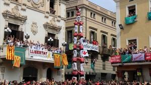 'Quatre de nou sense folre' de la Colla Vella de Valls, en la 'diada' de Sant Fèlix del 2018, en Vilafranca.