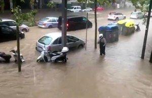 El Paral·lel inundado, en octubre del 2018.