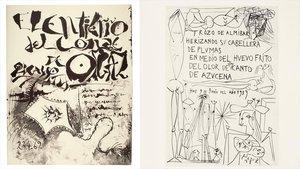 Facsímil del manuscrito original de 'El entierro del Conde de Orgaz' y'Trozo de almíbar',de Picasso.