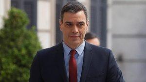 Pedro Sánchez, a su entrada al Congreso de los Diputados, este miércoles.