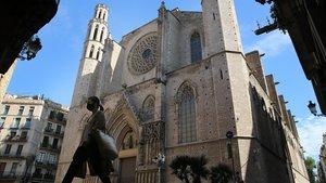 Fachada de la iglesia de Santa Maria del Mar, en el barrio del Bornde Barcelona.
