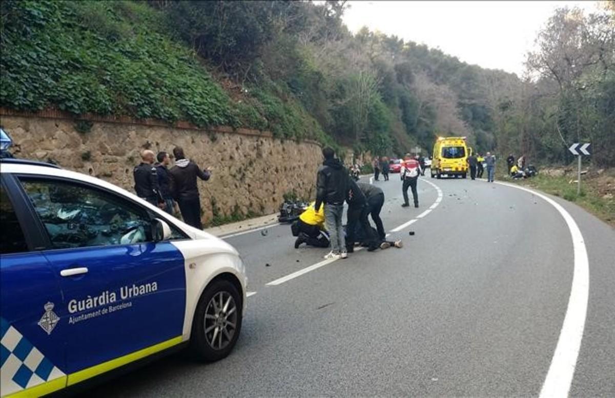 Accidente de moto en la Arrabassada