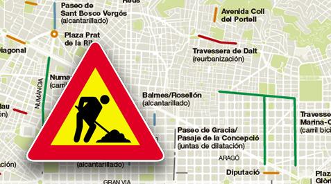 Mapa de les principals obres de l'estiu 2017 a Barcelona
