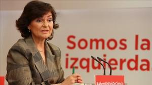 La secretaria de Igualdad del PSOE, Carmen Calvo, este viernes en la sede del partido.