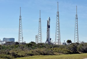 The SpaceX Falcon 9 rocket  scheduled to launch a U S  Air Force navigation satellite  sits on Launch Complex 40 after the launch was postponed after an abort procedure was triggered by the onboard flight computer  at Cape Canaveral  Florida  REUTERS Steve Nesius File Photo