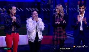 Adara, Maestro Joao, Alba Carrillo y Gianmarco conociendo la decisión de la audiencia de 'GH VIP'.