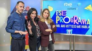 Alberto Casado, Marta Flich y María Gómez, en el plató de Ese programa del que usted me habla.