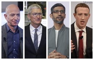 This combination of 2019-2020 photos shows Amazon CEO Jeff Bezos, Apple CEO Tim Cook, Google CEO Sundar Pichai and Facebook CEO Mark Zuckerberg. On Wednesday, July 29, 2020, the four Big Tech leaders will answer for their companiesâ practices before Congress at a hearing by the House Judiciary subcommittee on antitrust.  (AP Photo/Pablo Martinez Monsivais, Evan Vucci, Jeff Chiu, Jens Meyer)
