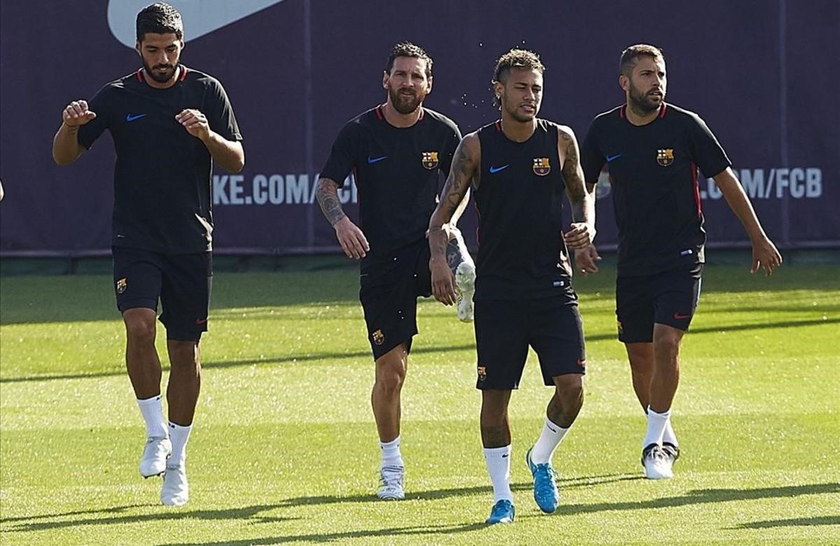 El Barça, en uno de sus primeros entrenamientos.