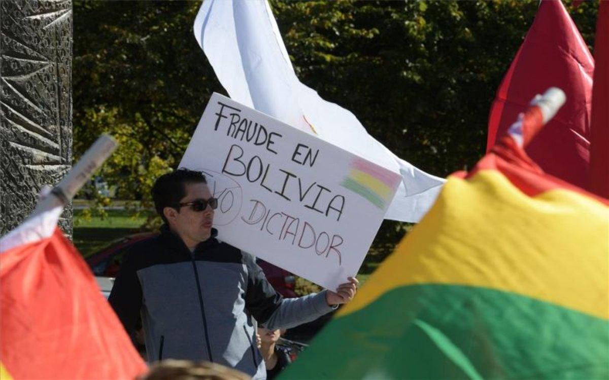 Manifestantes opositores al presidente de Bolivia, Evo Morales.