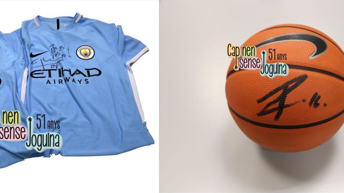 Camiseta de Pep Guardiola y balón de Pau Gasol.