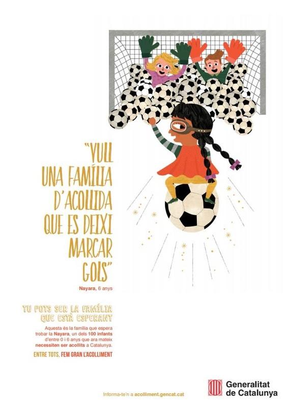 Cartel de la Generalitat de la campaña de búsqueda de familias de acogida.