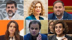 Jordi Sánchez, Meritxell Batet, Oriol Junqueras, Inés Arrimadas, Jaume Asens y Dolors Montserrat, de arriba a abajo y de izquierda a derecha.