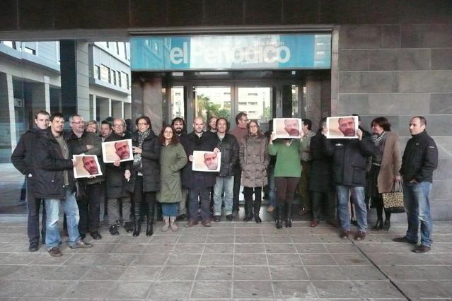Concentración este miércoles de los compañeros del Periódico de Aragón para pedir la liberación de Marc Marginedas.
