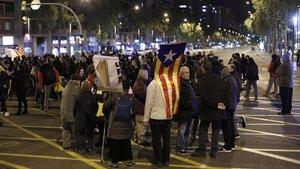 Corte en la avenida Meridiana de Barcelona a la altura de Fabra i Puig, en noviembre del 2019.