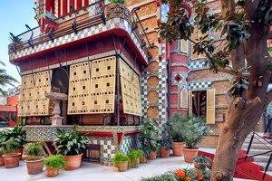 Un detalle de la fachada de la Casa Vicens de Gaudí.