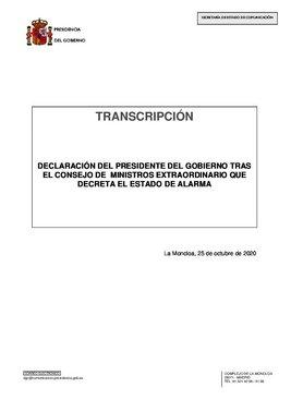 Intervención del presidente del Gobierno, Pedro Sánchez, tras el Consejo de Ministros extraordinario de este 25 de octubre que declara el estado de alarma en todo el país.