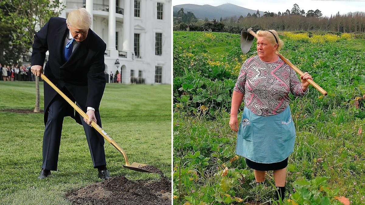 El presidente de Estados Unidos, Donald Trump, tiene a su doble en el norte de España. Se trata de Dolores Leis, una mujer de 64 años que vive en Nantón, Galicia.